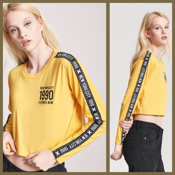 e20cfe6be Tops | 90s Vintage Inspired Nyc Graphic Mustard Crop Top | Poshmark
